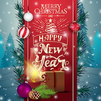Christmas card with red ribbon, gifts and antique lamp