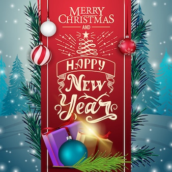 Christmas card with red ribbon and gifts