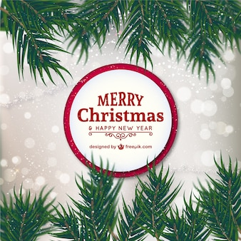 Christmas card with red ribbon Free Vector