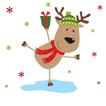 トナカイのクリスマスカードはギフトデザインをもたらします