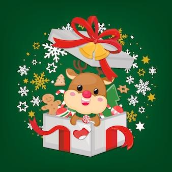 Christmas card with reindeer, christmas ornament and snowflake