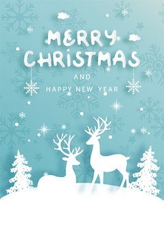 Christmas card with reindeer and christmas tree winter scene in paper cut style vector illustration