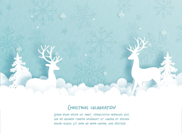 Christmas card with reindeer and christmas tree.