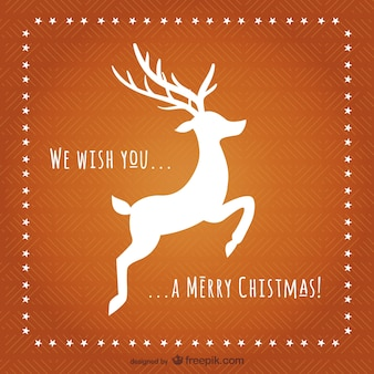 Christmas card with reindeer silhouette