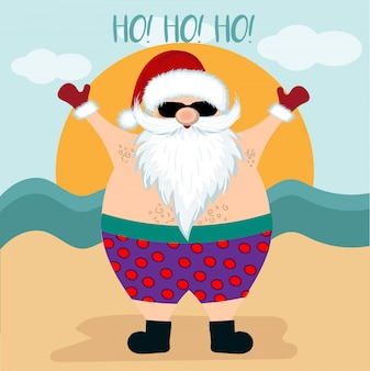 Рождественская открытка с санта на пляже