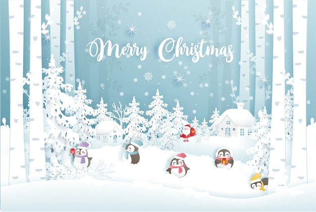 Christmas card with santa claus and cute penguins in a snow village