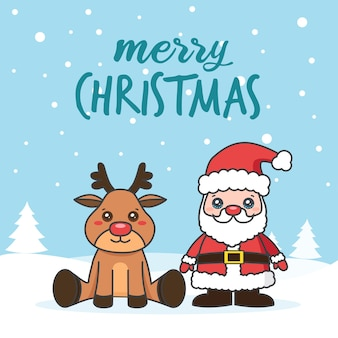 Christmas card with santa claus and deer on the snow