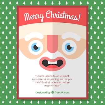 Christmas card with santa claus face in flat design