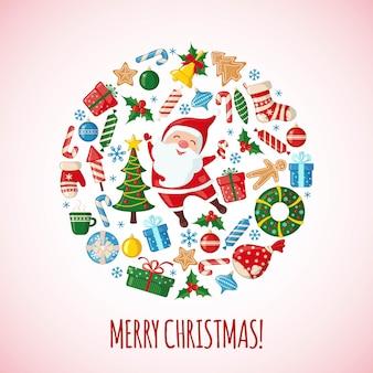 フラットスタイルのサンタクロースとクリスマスカード。伝統的なシンボル。ベクトルイラスト。
