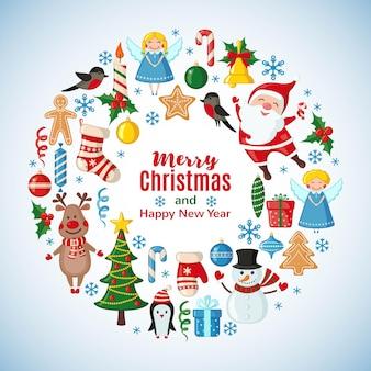 フラットスタイルのサンタクロースとクリスマスカード。ベクトルイラスト。