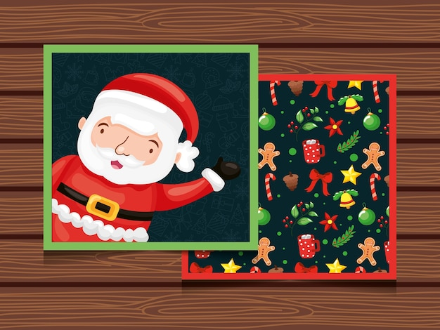 Christmas card with santa claus and pattern seamless over wooden background
