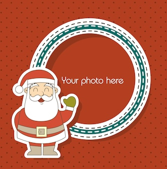 Christmas card with santa claus over red background vector illustration