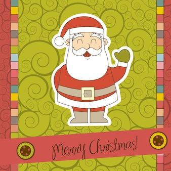 Christmas card with santa claus over scrapbook vector illustration
