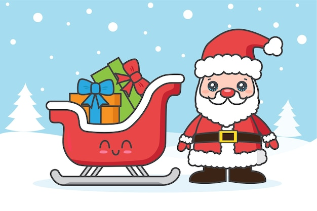 Christmas card with santa claus and sled on the snow