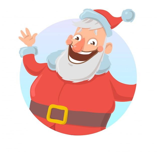 サンタクロースの笑顔と手を振ってのクリスマスカード。サンタがこんにちは。白い背景の上。ラウンド要素。漫画キャライラスト。