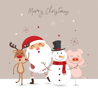 Christmas card with santa claus, snowman and reindeer.