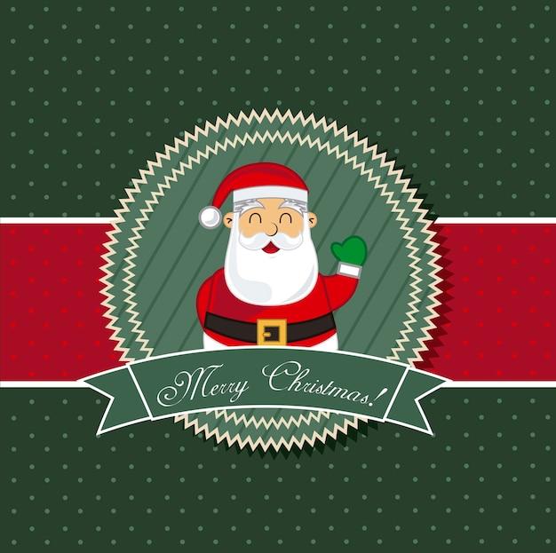 Christmas card with santa claus vector illustration