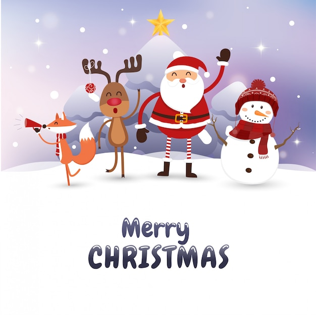 Christmas card with santa claus and wild animals.