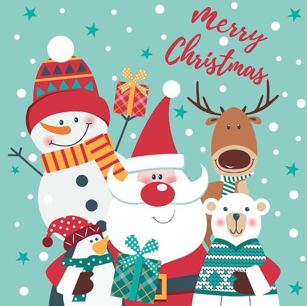 Christmas card with santa, deer, polar bear