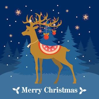 冬の森を背景にサンタのトナカイとクリスマスカード。ベクトル、分離。