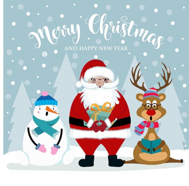 Christmas card with santa