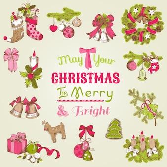 Рождественская открытка с набором рисованной рождественских элементов