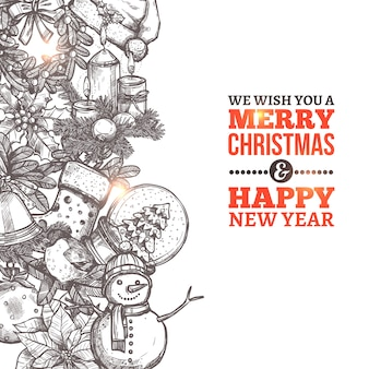 Christmas card with in sketch style and typography