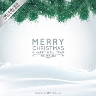 Christmas card with snow and branches Free Vector