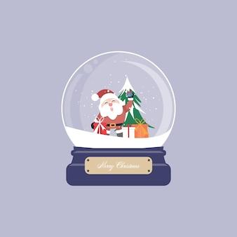 スノードームとサンタクロース、クリスマスツリー、ギフト、飾りが付いたクリスマスカード。図。