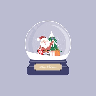 Christmas card with snow globe and santa claus, christmas tree, gifts and ornament.  illustration.