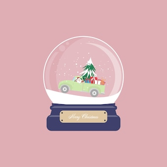 Christmas card with snow globe and santa claus drive pickup truck with christmas tree and gift box on pink background.  illustration.-  illustration.