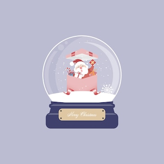 Christmas card with snow globe and santa claus and gifts.