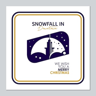 Christmas card with snow in town illustration
