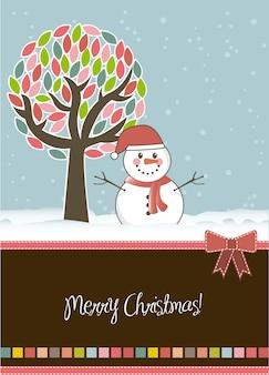 Christmas card with snowan and tree vector illustration