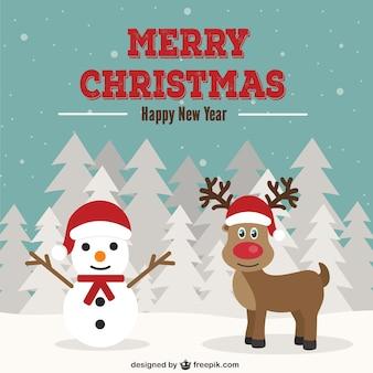 雪だるまやトナカイとクリスマスカード