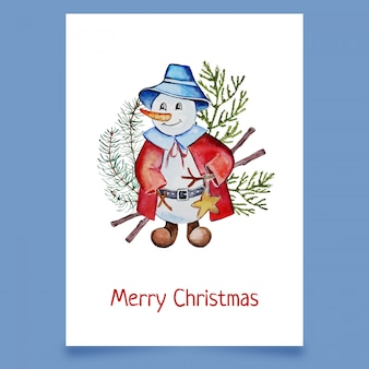 Christmas card with snowman in hat and coat