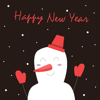 Christmas card with a snowman and lettering. against a dark background, a joyful character raises his hands up. it is snowing. vector illustration.
