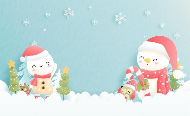 Рождественская открытка со снеговиком, снежным покровом.