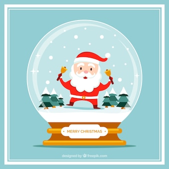 素敵なサンタクロースと雪だるまとクリスマスカード