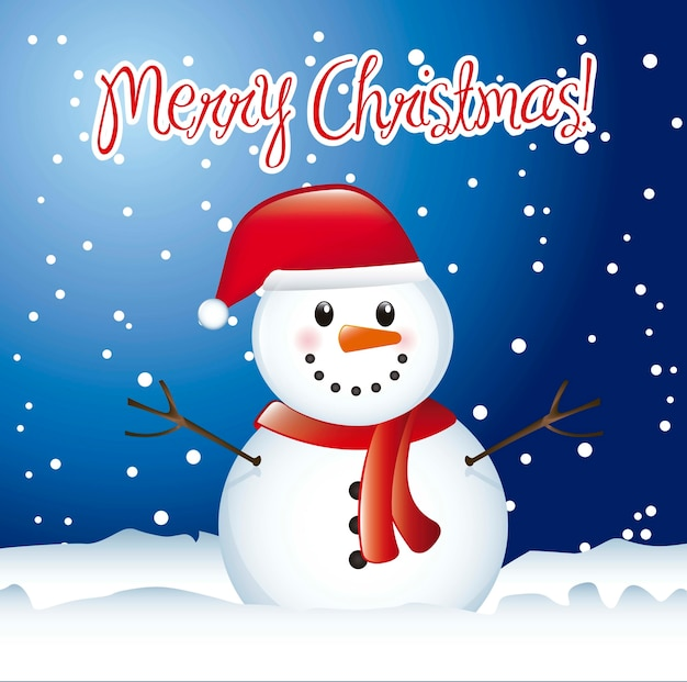 Christmas card with snowman with snow vector illustration