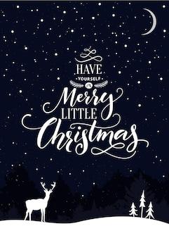 Рождественская открытка с текстом получите себе веселую маленькую рождественскую сцену с падающим снегом