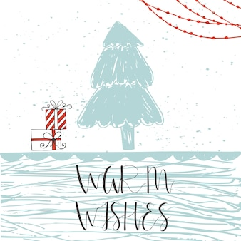 Christmas card with  text on a winter background with snow and snowflakes  hand drawn quote