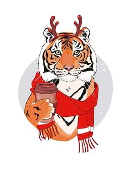 Рождественская открытка с тигром в оленьих рогах и чашкой кофе