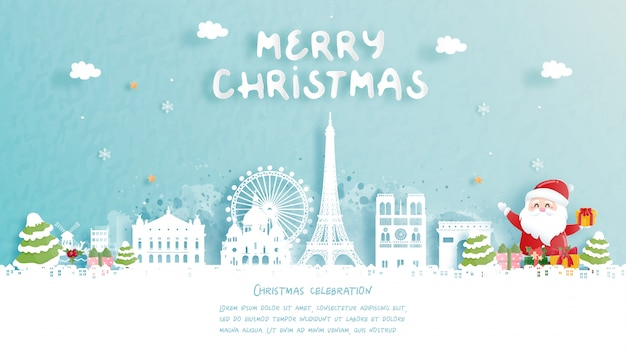 Christmas card with travel to paris, france concept. cute santa and gift boxes. world famous landmark in paper cut style  illustration.