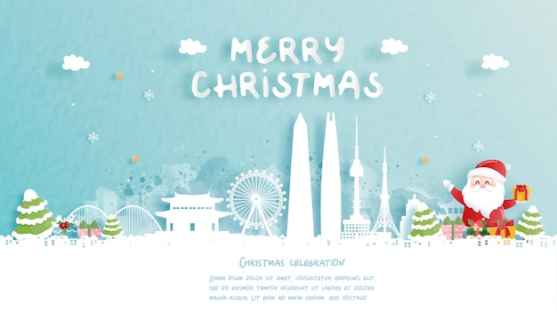 Christmas card with travel to seoul, south korea concept. cute santa and gift boxes. world famous landmark