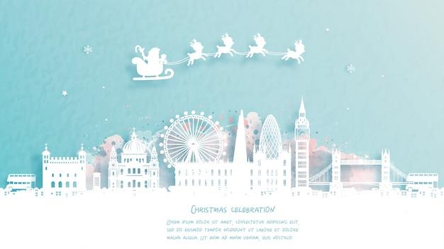 런던, 영국 개념 여행 크리스마스 카드. 귀여운 산타와 순록. 종이 컷 세계 일러스트에서 세계적으로 유명한 랜드 마크.