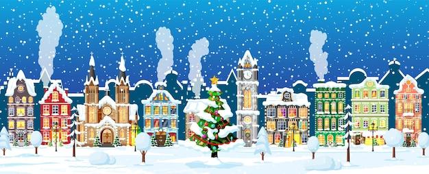 도시 풍경과 강설량 크리스마스 카드입니다.