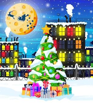Рождественская открытка с городским пейзажем и снегопадом.