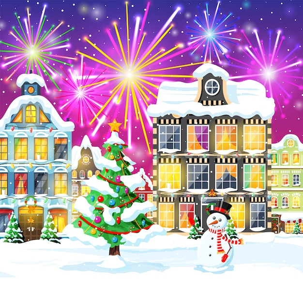 Christmas card with urban landscape and fireworks. cityscape with colorful houses with salute in night. winter village cozy town city panorama. new year christmas xmas banner. flat vector illustration
