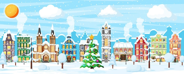 Christmas card with urban landscape and snowfall. cityscape with colorful houses with snow in day. winter village, cozy town city panorama. new year christmas xmas banner. flat vector illustration
